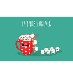 Coffee with marshmallows vector image