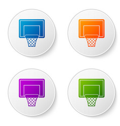 Color basketball backboard icon isolated on white vector