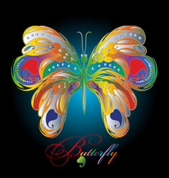 Colorful textured 3d butterfly vector