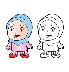 Coloring melayu muslim girl vector