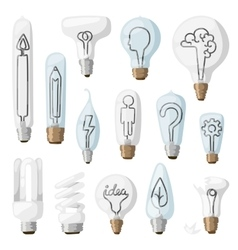 Creative idea lamps cartoon flat vector image