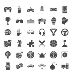 Cyber sport solid web icons vector