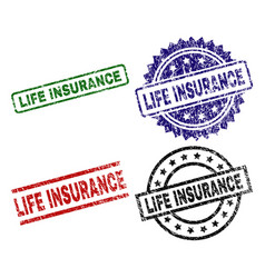 damaged textured life insurance seal stamps vector image