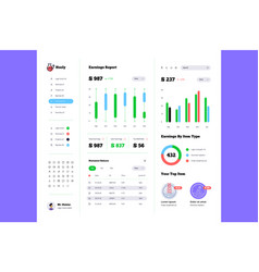 dashboard kit earnings report vector image