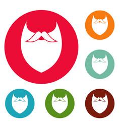 Dense beard icons circle set vector