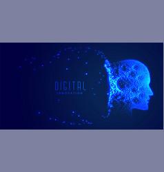 Digital partical face artificial intelligence vector