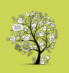 Easter holiday tree sketch for your design vector