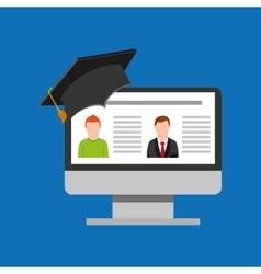 Education online global video conference vector