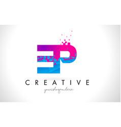 ep e p letter logo with shattered broken blue vector image