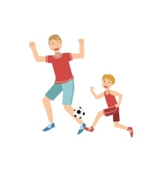 Father and son playing football vector