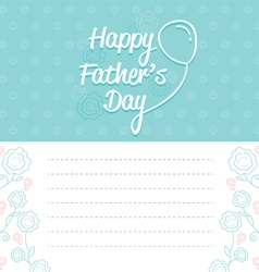 Fathers Day Card With Outline Flower Pattern vector image