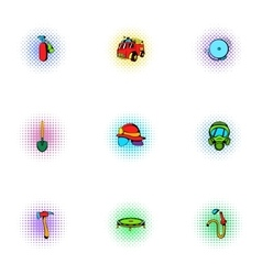 Firefighter icons set pop-art style vector