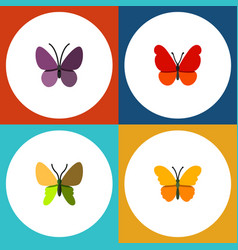Flat butterfly set of monarch butterfly violet vector