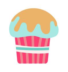 flat color cupcake icon vector image