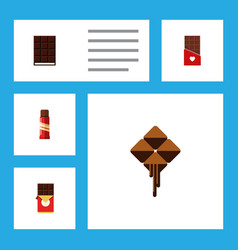 Flat icon sweet set of chocolate chocolate bar vector