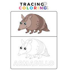 Funny anteater funny armadillo animal tracing and vector