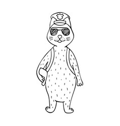 funny hand-drawn cat police officer vector image