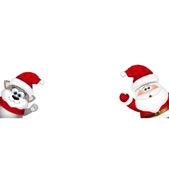 Funny Santa and cat on white background vector image