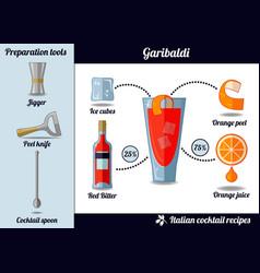 garibaldi cocktail infographic set recipe vector image