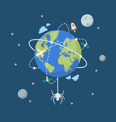 global network connection with spider vector image