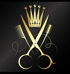 Gold scissors and crown beauty salon symbol vector
