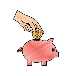 grated piggy to save money and hand with coin vector image