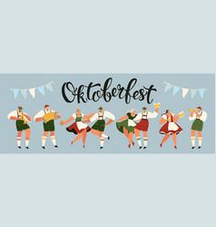 group people drink beer oktoberfest party vector image