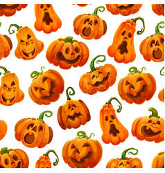 halloween pumpkin monster lantern seamless pattern vector image