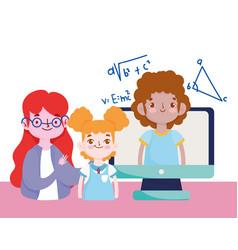 happy teachers day teacher students girl boy vector image