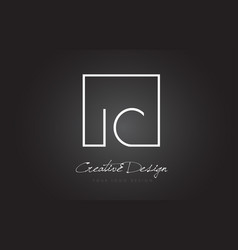 Ic square frame letter logo design with black and vector
