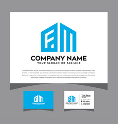 Initials fm logo with a business card vector