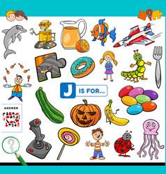 Letter j words educational task for children vector