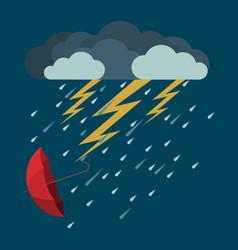 lightning and heavy rain falling umbrella from vector image