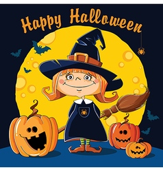 Little Witch with broom vector image