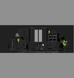 Living room in black and white line sketch style vector