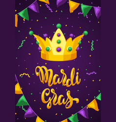 mardi gras party greeting or invitation card vector image