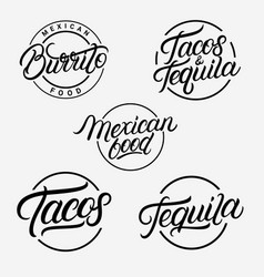 mexican food and drink logos vector image