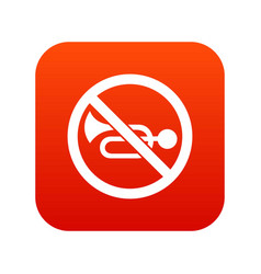 no horn traffic sign icon digital red vector image