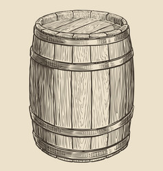 one wooden barrel for wine and other alcohol vector image