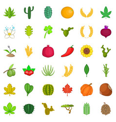 organic plant icons set cartoon style vector image