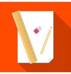 Paper pencil ruler and eraser icon vector