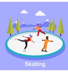 People Skating Flat Style Design vector image