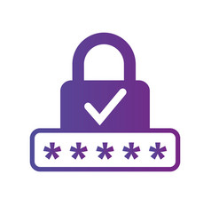 pin code and lock simple icon with checkmark vector image