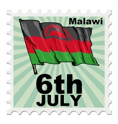 Post stamp of national day of malawi vector