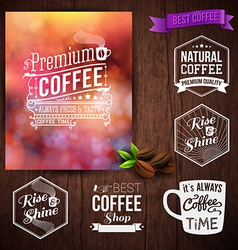 Premium coffee advertising poster and coffee beans vector image