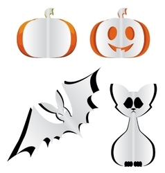 Pumpkin bat and cat vector image