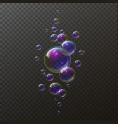 realistic soap bubbles shampoo foam rainbow vector image