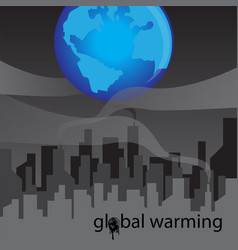 Refinery with smoke and global warming concept vector