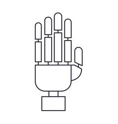 Robot hand icon in monochrome silhouette vector