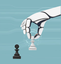 robot holds a pawn in hand and plays chess vector image